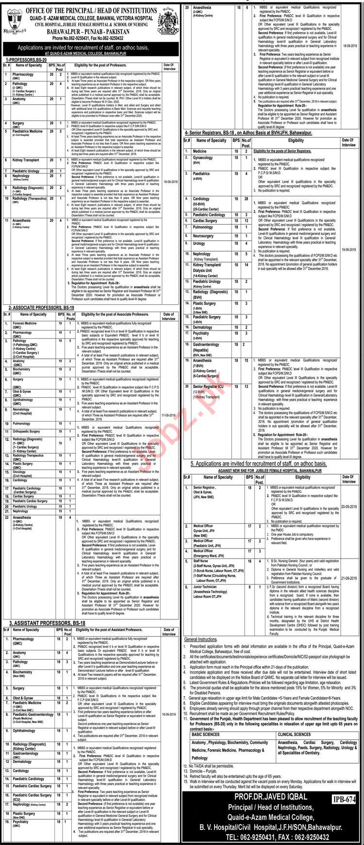 Quaid E Azam Medical College Bahawalpur Jobs 2019