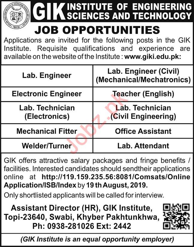 GIK Institute Of Engineering Sciences & Technology Jobs 2019 Job