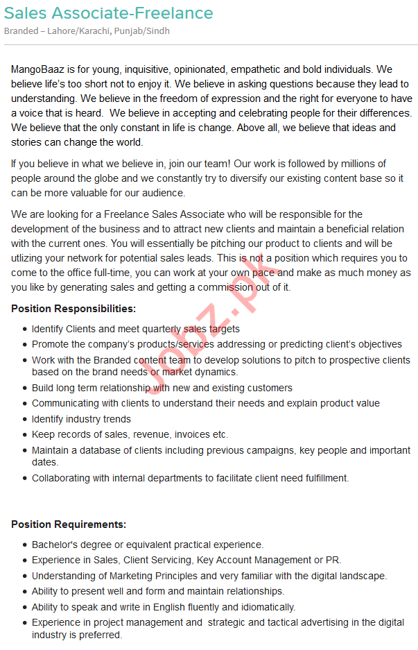 Sales Associate Jobs 2019 in Lahore & Karachi 2019 Job Advertisement