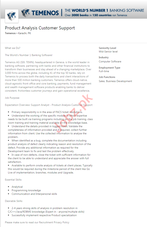 Product Analysis Customer Support Job in Karachi