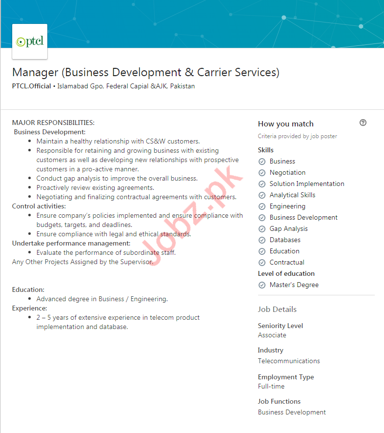 PTCL Business Manager Job in Islamabad 2019 Job Advertisement Pakistan