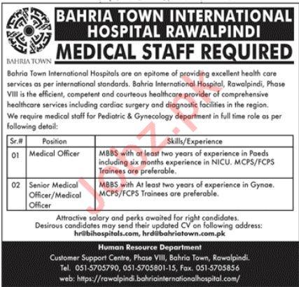 Bahria Town International Hospital Jobs in Rawalpindi