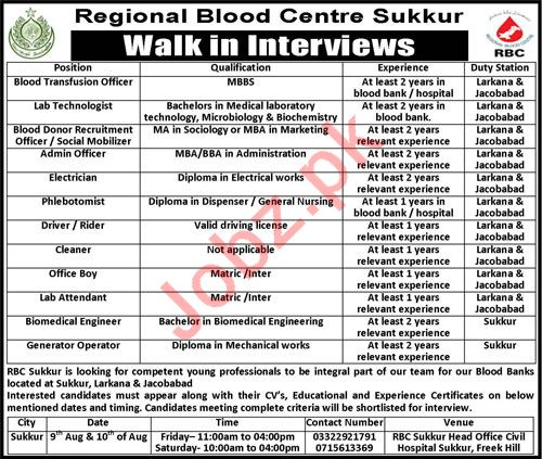 Regional Blood Centre RBC Sukkur Jobs 2019 Job Advertisement Pakistan