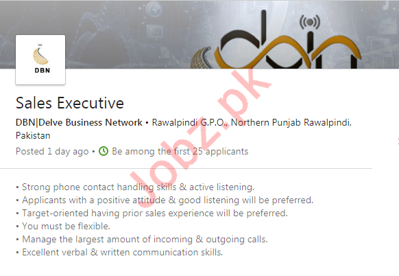 Sales Executive Job in Rawalpindi