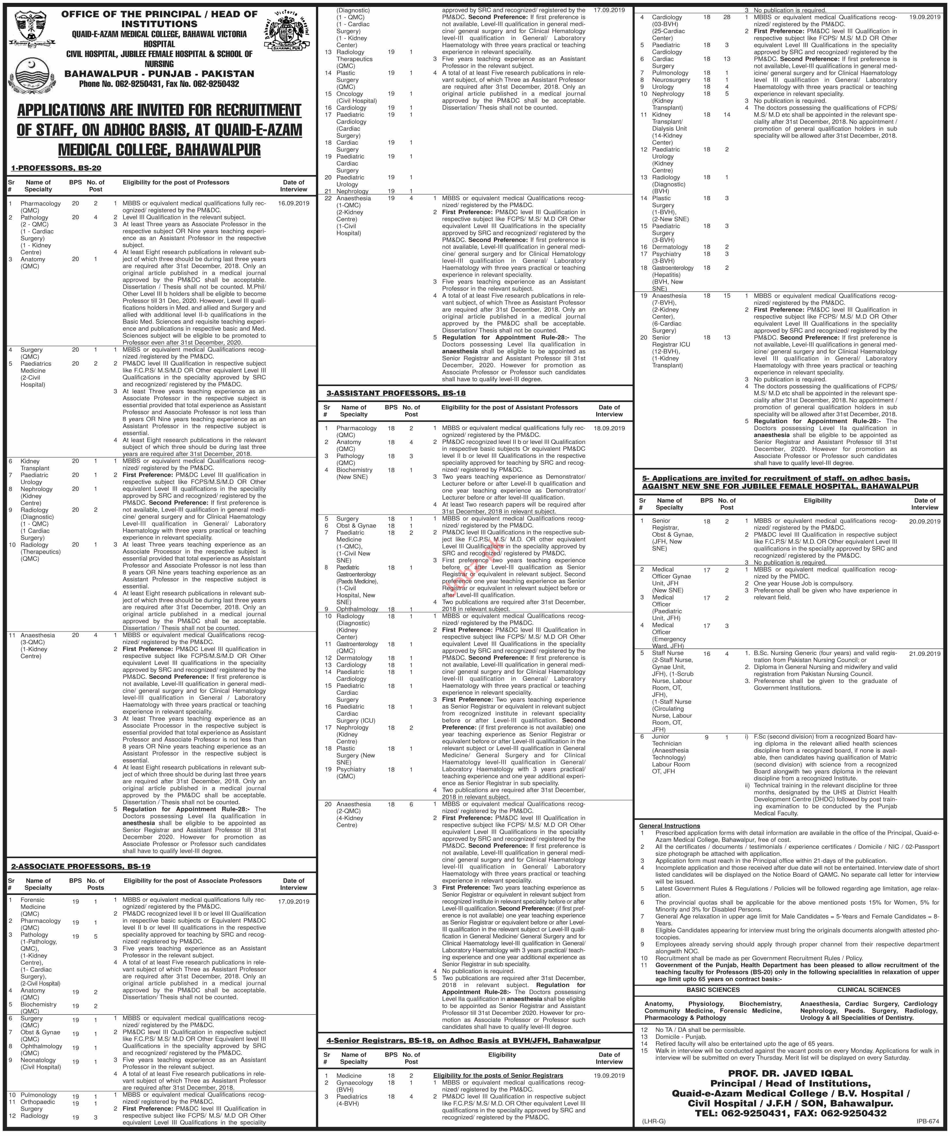Bahawal Victoria Hospital Jobs 2019 for Professors