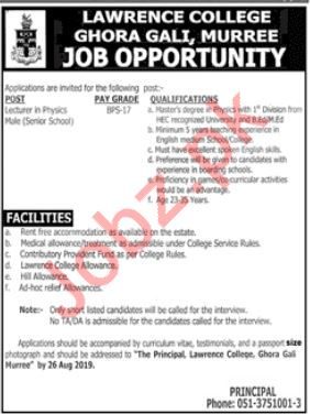 Pak Army Lawrence College Ghora Gali Murree Job 2019