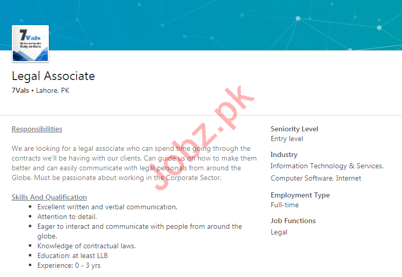 Legal Associate Job 2019 in Lahore 2019 Job Advertisement Pakistan