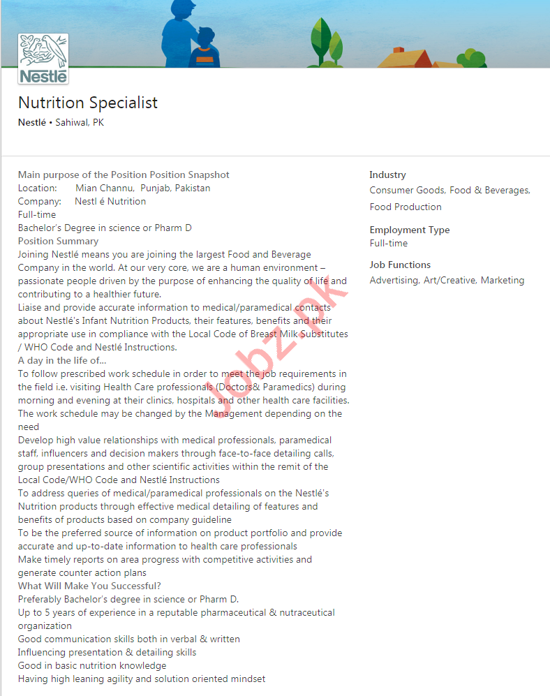 Nutrition Specialists Jobs 2019 in Sargodha & Sahiwal