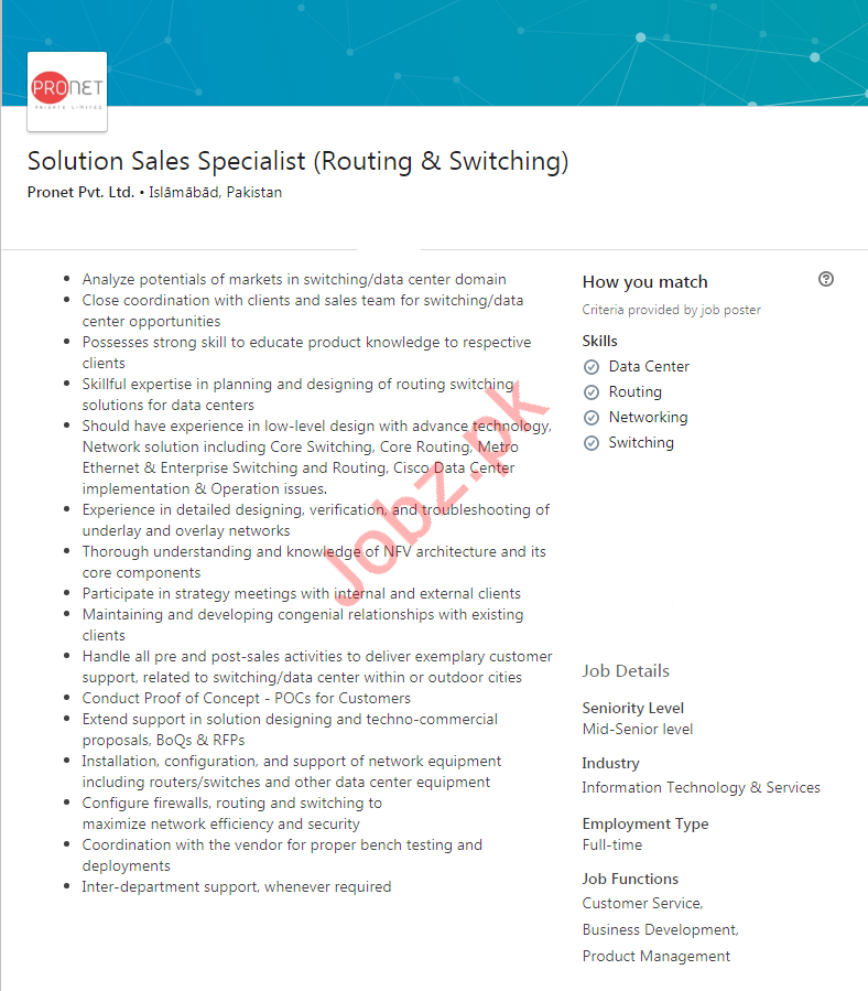 Solution Sales Specialist Job in Islamabad