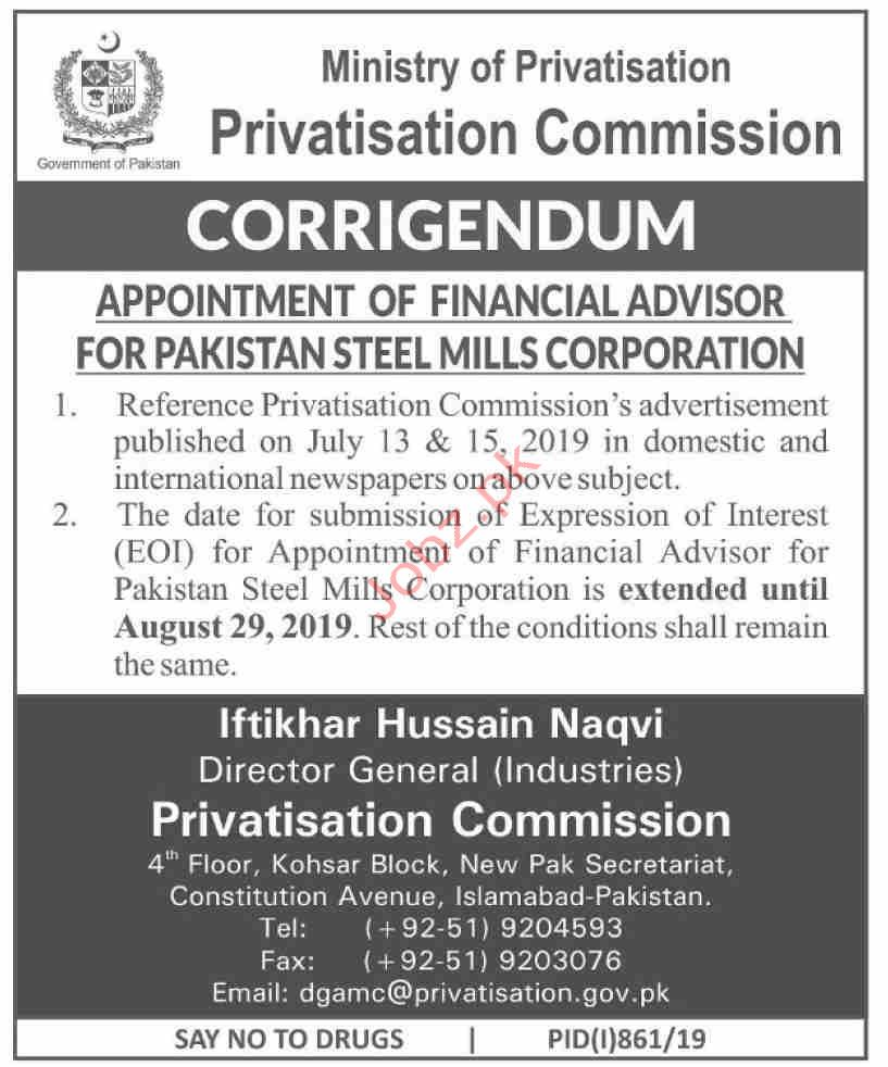 Privatisation Commission Financial Advisor 2019 Job Advertisement