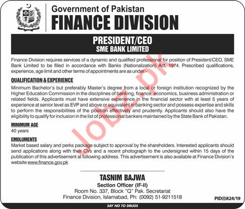 Finance Division Job For President & Chief Executive Officer