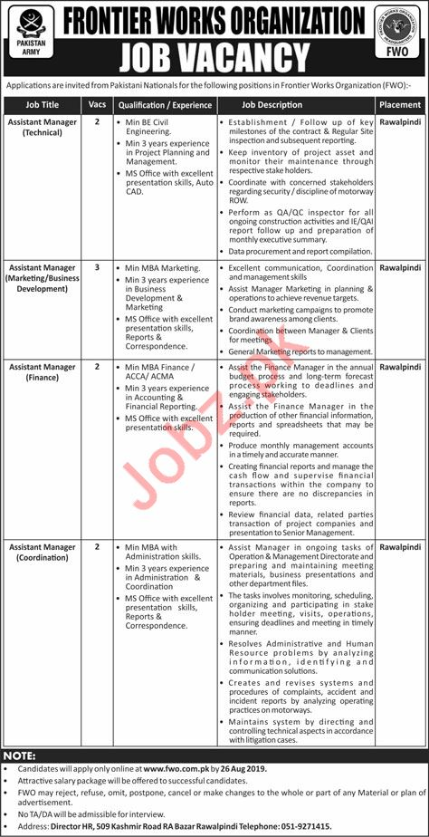 Pakistan Army Frontier Works Organization FWO Jobs 2019
