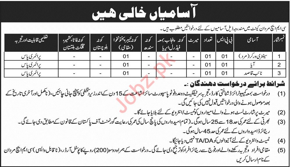 CMH Combined Military Hospital Mardan Cantt Jobs 2019 Job