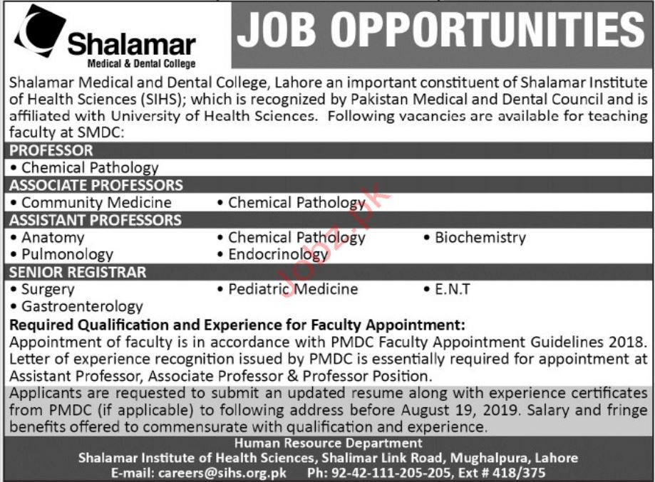Shalamar Medical & Dental College Jobs 2019 Job Advertisement Pakistan