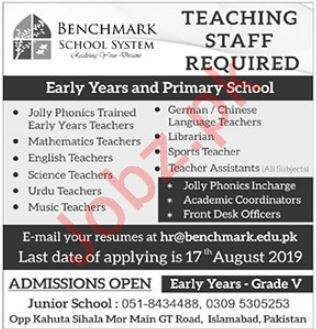 Benchmark School System Jobs in Islamabad 2019 Job Advertisement