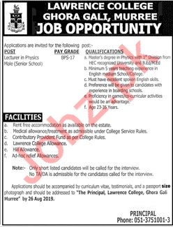 Pak Army Lawrence College Ghora Gali Murree Job 2019 Job