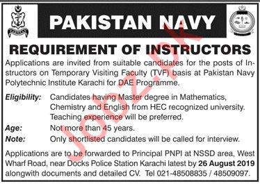 Pakistan Navy Polytechnic Institute Jobs For Instructors
