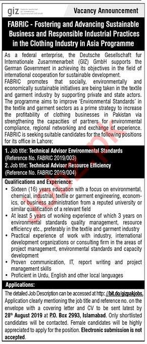 NGO Technical Advisor Job in Islamabad