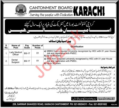 Karachi Cantonment Board Paramedical Staff Jobs 2019