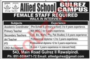 Allied School Gulberg Campus Jobs in Rawalpindi