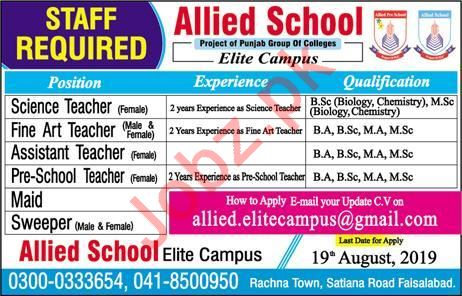 Allied School Elite Campus Jobs 2019 in Faisalabad 2019 Job