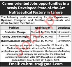 Nutraceutical Factory Jobs