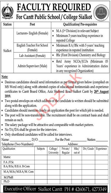 Cantt Public School & College Sialkot Jobs