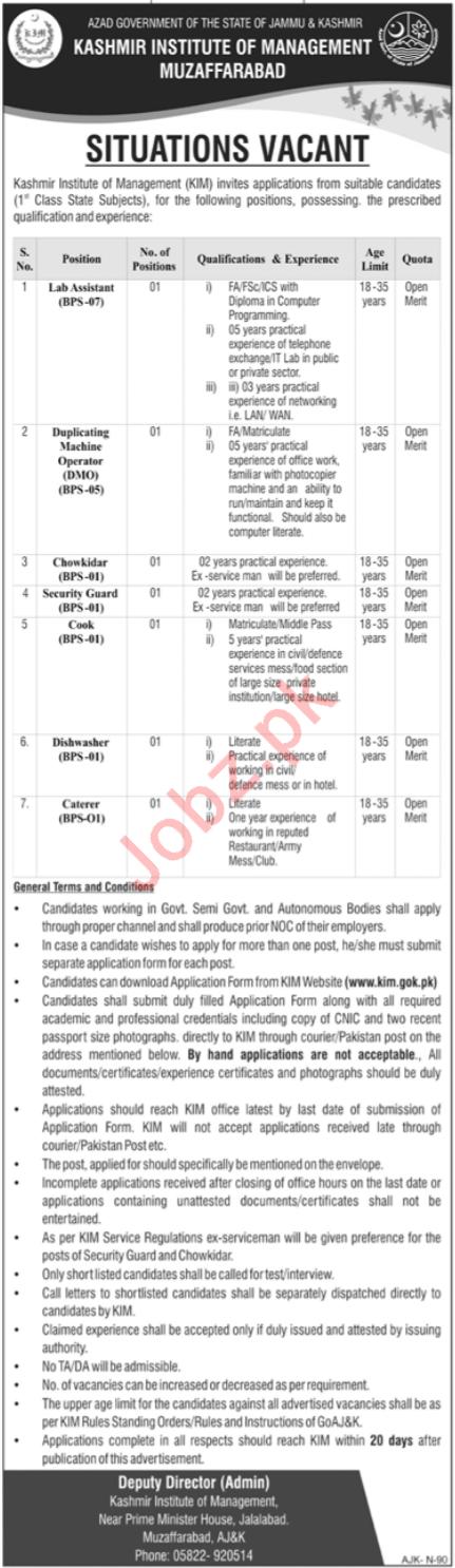 Kashmir Institute of Management KIM Jobs