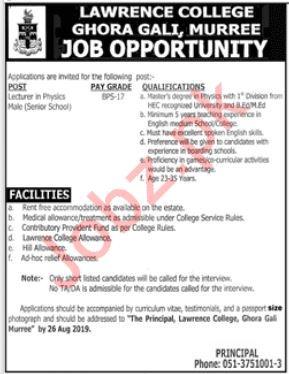 Lawrence College Ghora Gali Murree Jobs 2019