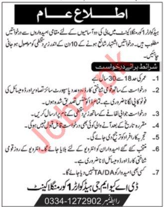 Pak Army Headquarter 1 Core Mangla Cantt Jobs 2019