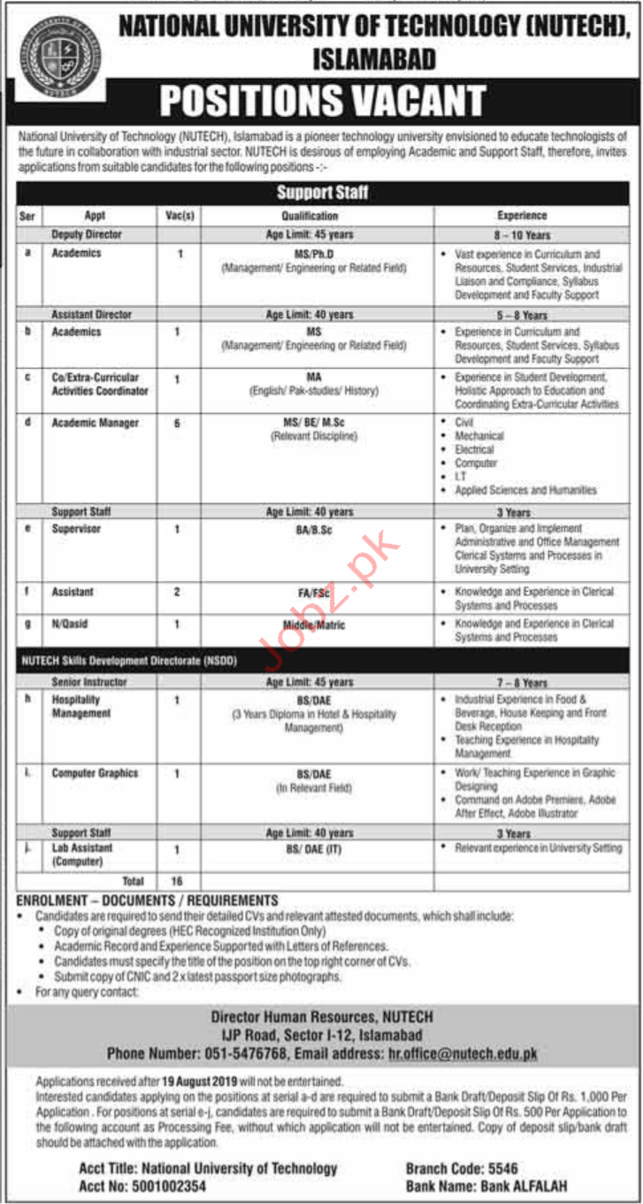 National University of Technology NUTECH Jobs 2019