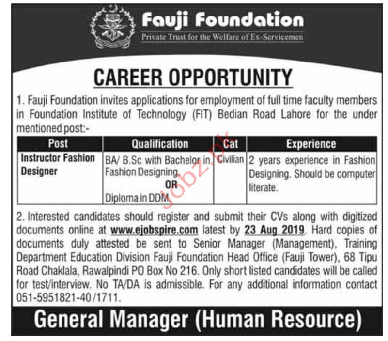 Fauji Foundation Instructor Fashion Designer Jobs 2020 Job Advertisement Pakistan