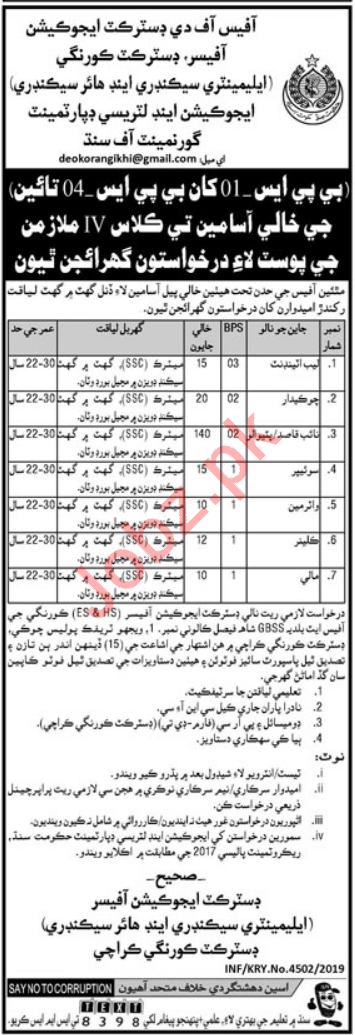 Elementary & Secondary Education Department Jobs in Karachi