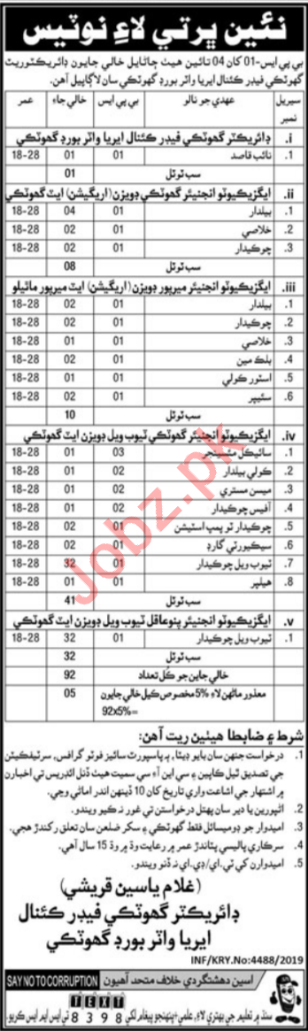 Irrigation Department Jobs 2019 For Ghotki