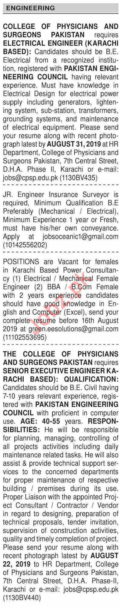 Dawn Sunday Classified Ads 11th Aug 2019 for Engineering
