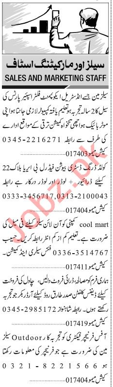 Jang Sunday Classified Ads 11th Aug 2019 for Sales Staff