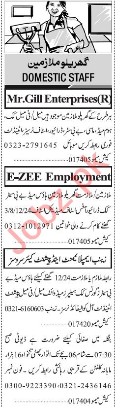 Jang Sunday Classified Ads 11th Aug 2019 for House Staff