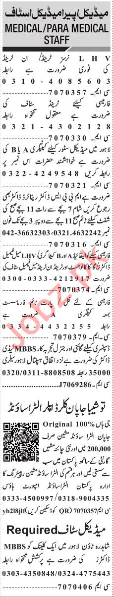 Jang Sunday Classified Ads 11th Aug 2019 for Medical Staff