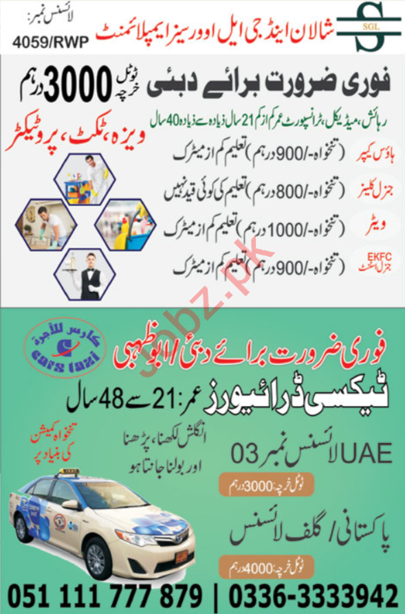 Taxi Driver & House Keeper Jobs 2019