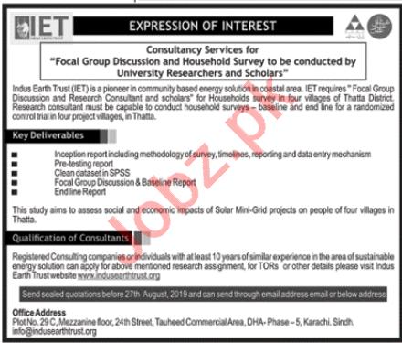 Indus Earth Trust IET Thatta Jobs 2019 for Consultant