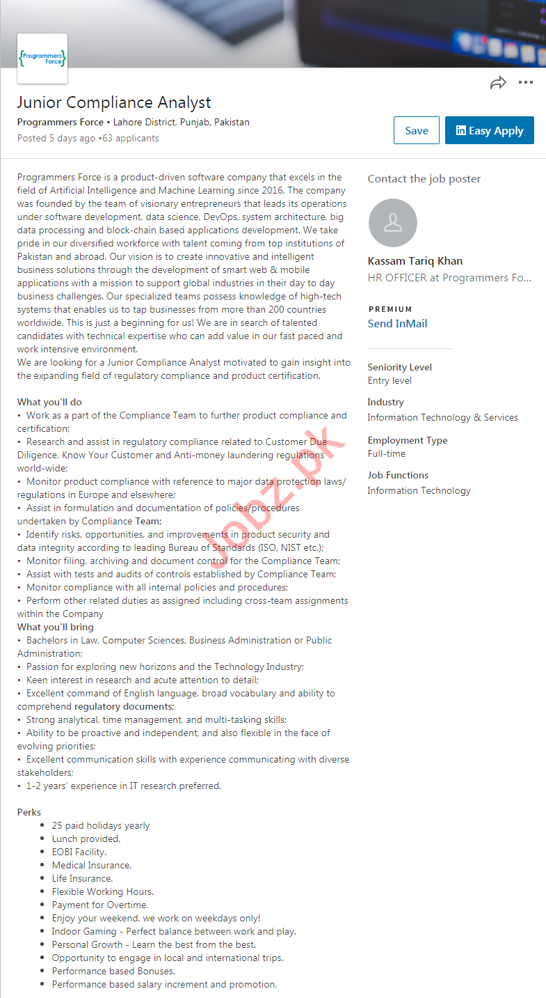 Junior Compliance Analyst Job 2019 in Lahore