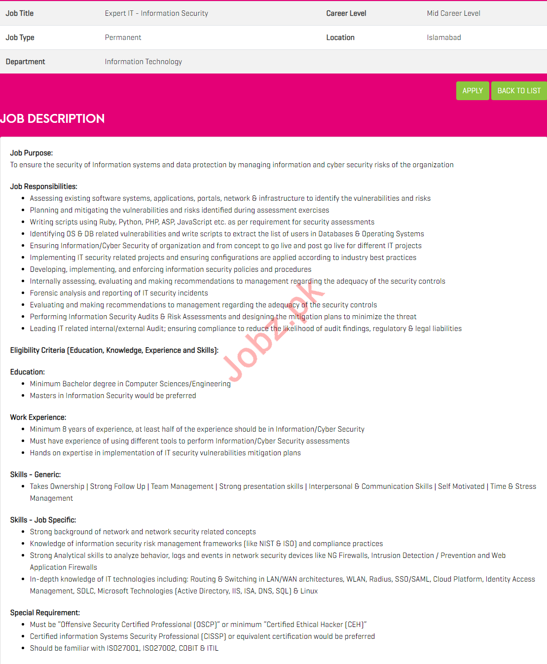 Expert IT Information Security Job 2019 in Islamabad