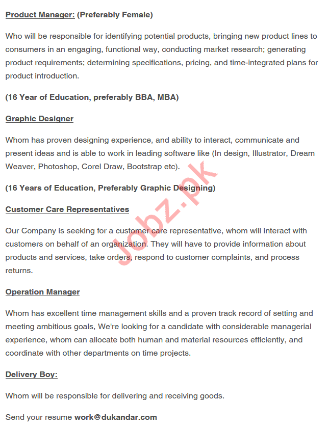 Dukandar Online Shopping Company Jobs in Peshawar 2019 Job