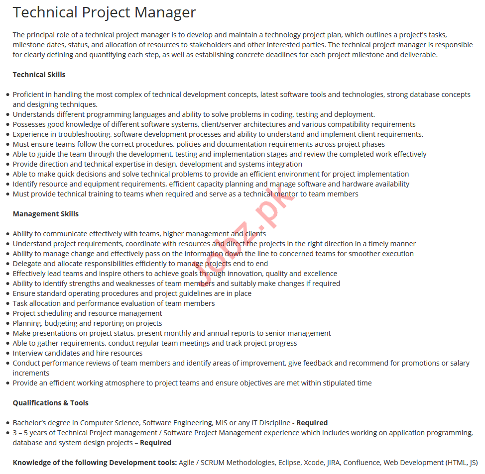 Technical Project Manager Job 2019 For Islamabad