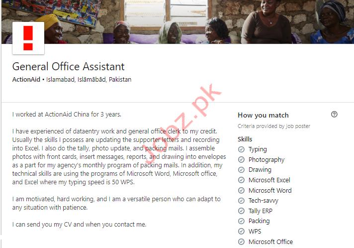 ActionAid Pakistan AAPk NGO Jobs General Office Assistant