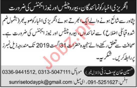 Bureau Chiefs & News Agents Jobs 2019 in Peshawar