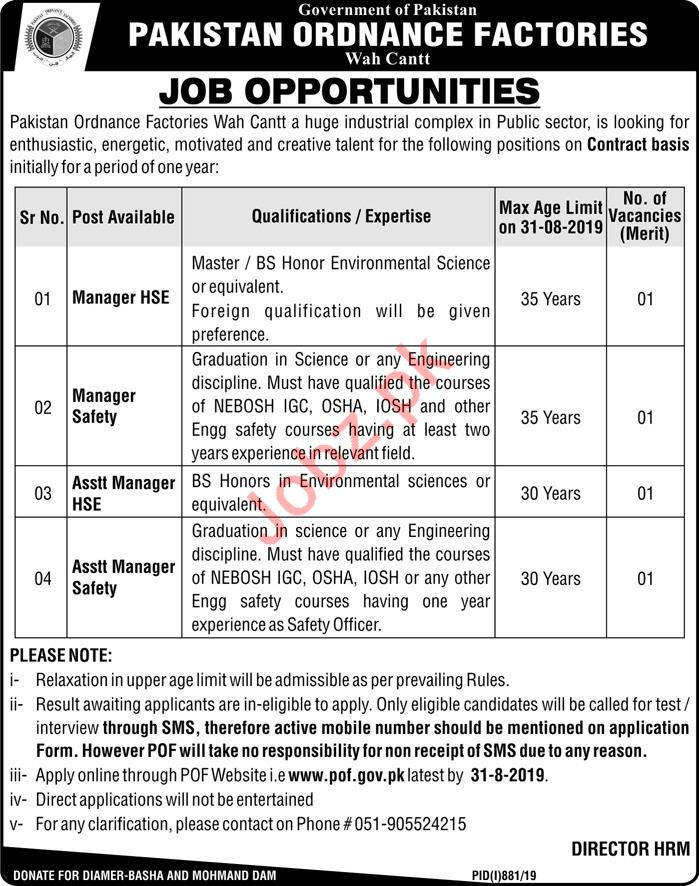 Assistant Manager HSE & Assistant Manager Safety Jobs 2019