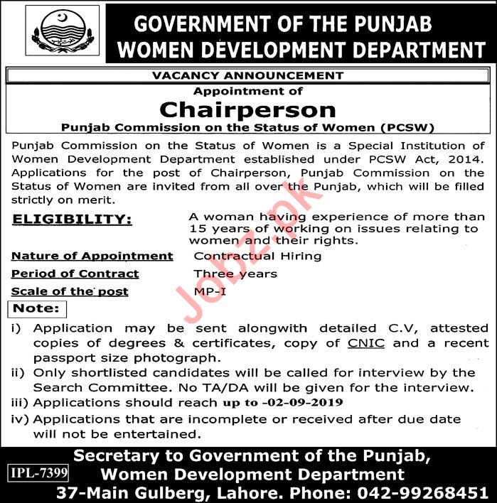 Punjab Commission on the Status of Women PCSW Jobs 2019