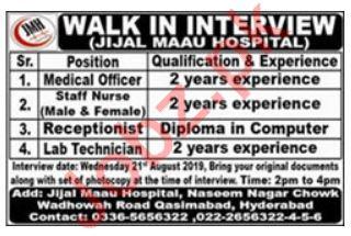 Jijal Maau Hospital Walk In Interviews 2019
