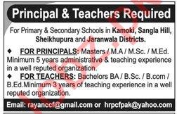 Principal & Teachers Jobs 2019 in Punjab
